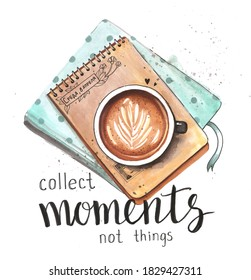 """Hand drawn watercolor artwork. Painted aquarelle picture. Artist painting. Cup of cappuccino coffee on Notepad with craft paper, diary entries """"Wednesday, April 8"""". Creative moments in coffee shop."""