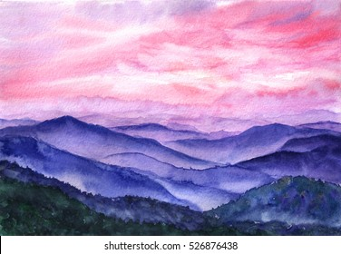 Hand drawn watercolor background. Landscape, hill, mountain, sunlight through the cloud, sky. Pink sunrise, sunset.