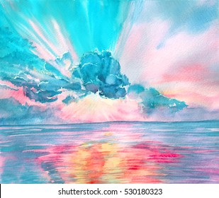 Hand drawn watercolor background. Landscape of pink sunrise, sunset on the sea with sunlight through the cloud and reflection on the water. Design for cover page, banner, booklet, landing page