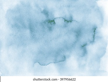 The hand drawn watercolor background of natural pastel dull gray-blue color. Watercolor paper.