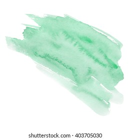 Hand drawn watercolor background of pastel natural delicate shade. A watercolour spot. Gentle green color. It is possible to use for wrap, wallpaper, website, decor. Isolated on white background.