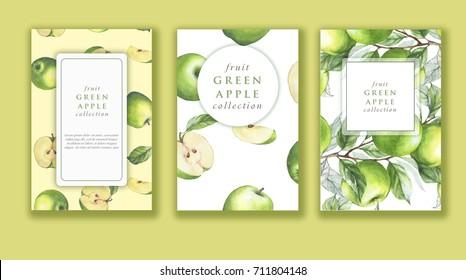 Hand drawn watercolor banner set with ripe green apples. Card design for sweets and pastries filled with fruit, candy, yogurt, dessert menu, health care products. With place for text