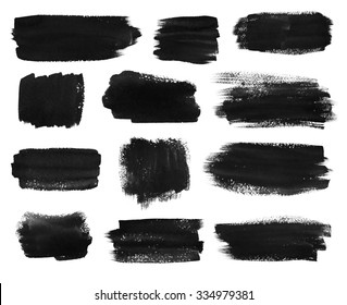 Hand drawn watercolor black brush stokes banners collection.