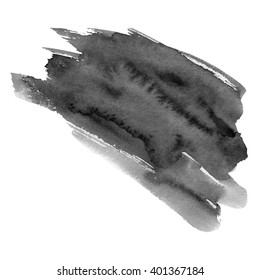 Hand drawn watercolor black stain. A watercolour spot. Inky blot. It is possible to use for wrap, wallpaper, website, decor. Isolated on white background.