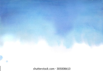 Hand drawn watercolor blue background. Blue textured gradient. It can be used like backdrop for cards, web, texture and base for mask