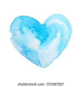 Hand drawn watercolor blue heart.