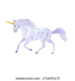 Hand drawn watercolor blue unicorn illustration isolated on white background
