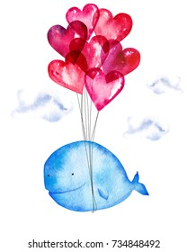 Hand drawn watercolor blue whale flying on air balloons. Artistic print design isolated on white background