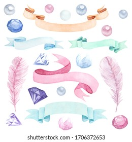 Hand drawn watercolor boho feathers  with flowers. Watercolor banners, crystals, pearls and gems, isolated illustration on white background. Boho design for cards, posters, wedding invitations. Rustic