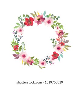 Hand drawn watercolor bouquet with place for your text. Design for card, invitation. Floral arrangement with circle frame. Wreath with flowers