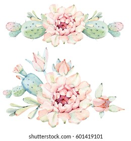 Hand drawn watercolor cactus set. lIt's perfect for card, greeting card, birthday card, poster, sticker, banner, cover, invitation.