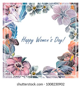Hand drawn watercolor cadr with flowers for International Women's Day, wedding or other celebration