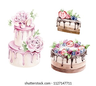 Hand drawn watercolor  cakes ; wedding cake, cake with berries