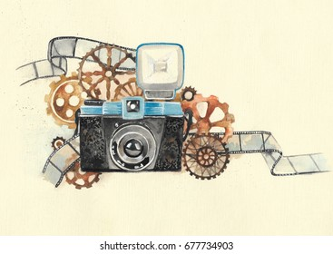 Hand drawn watercolor camera with steampunk gear
