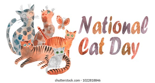 Hand drawn watercolor card for Cat Day