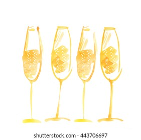 hand drawn watercolor champagne. watercolor illustration of sparkling wine