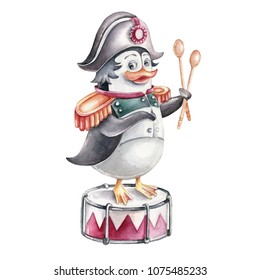 Hand drawn watercolor character Penguin Napoleon. Cartoon concept.Can be used as print, for kids decoration, funny card or poster