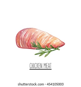 Hand drawn watercolor chicken meat illustration. Cut of chicken breast isolated on white background. Watercolor chicken isolated on white background.
