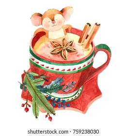 Hand drawn watercolor Christmas mouse having a bath in the cup. Cute watercolor mouse. Christmas card.