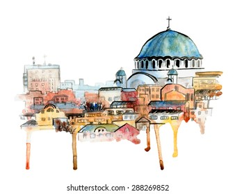 Hand drawn watercolor cityscape of Belgrade, Serbia. Freehand picture of a famous serbian landmark The Church of Saint Sava in bright colors with artistic drips.