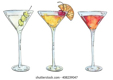 hand drawn watercolor cocktail Martini Whiskey sour Sidecar Corpse Reviver on white background