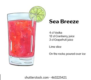 hand drawn watercolor cocktail Sea Breeze on white background