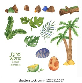 Hand drawn watercolor collection of dino world elements: Grass, leaf, stone, wood, plant, tree. Illustration isolated on the white background