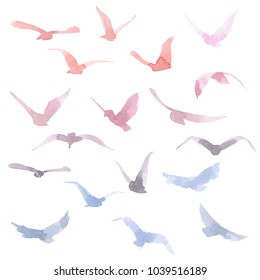 Hand drawn watercolor colorful silhouettes of birds set. Pink, orange, violet and blue colors.