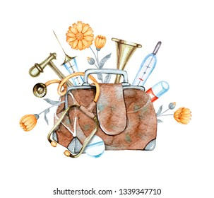 hand drawn watercolor composition of vintage medical supplies on white background