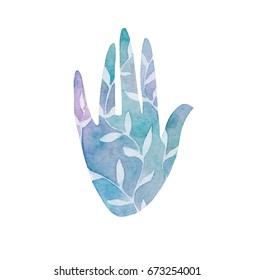 Hand drawn watercolor hand. Concept of unity with nature, harmony and care.