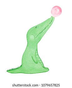Hand drawn watercolor crocodile blowing bubble gum