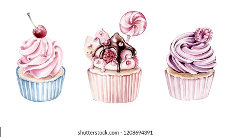 Hand drawn watercolor cupcake set