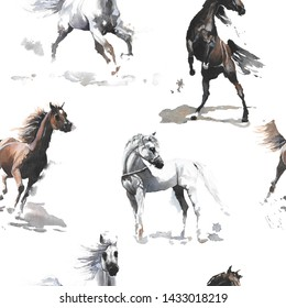 Hand drawn watercolor cute seamless pattern illustration white and dark brown wild Arabian horses on the white background for cloth, linen, wallpaper texture or other textile print
