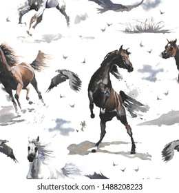 Hand drawn watercolor cute seamless pattern illustration white and dark brown wild Arabian horses, cloud, eagle on the white background for cloth, linen, wallpaper texture or other textile print