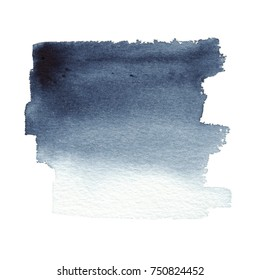 Hand drawn watercolor dark blue background brush stroke - invitations, posters, cards template - indigo wet paint and dry brush backdrop.