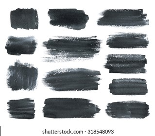 Hand drawn watercolor dark  gray brush stokes banners collection.