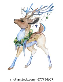 Hand drawn watercolor deer with candles and spruce branches