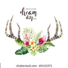 Hand drawn watercolor deer horns with tropical flower bouquets. Exotic palm leaves, jungle tree, brazil tropic botany flowers and cow skull. Aloha print