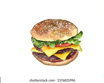 Hand drawn watercolor delicious burger illustration, food isolated on white background.