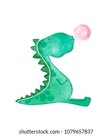 Hand drawn watercolor dinosaur blowing bubble gum