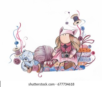 Hand drawn watercolor doll with teddy bear toy