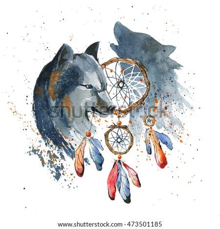 Hand Drawn Watercolor Dream Catcher Wolf Stock Illustration Cool Water Color Dream Catcher