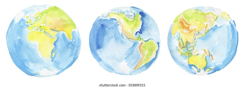 Hand drawn watercolor Earth. Colorful watercolors set of globes .