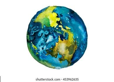 Hand drawn watercolor Earth. Globe painted with watercolours