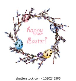 hand drawn watercolor Easter wreath of willow twigs and quail eggs