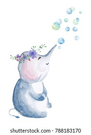 Hand drawn watercolor elepant blowing bubbles