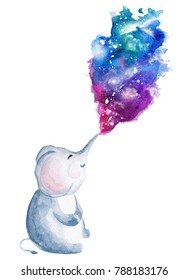 Hand drawn watercolor elephant blowing  galaxy backround