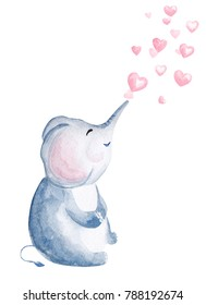 Hand drawn watercolor elephant blowing heart shaped bubbles