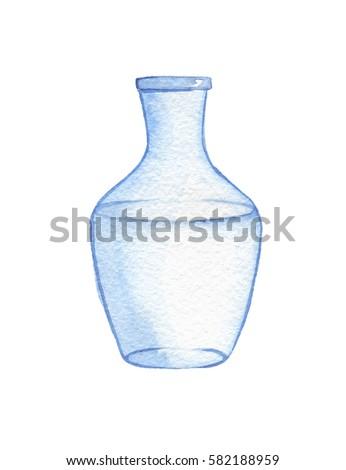 Hand Drawn Watercolor Empty Glass Vase Stock Illustration 582188959
