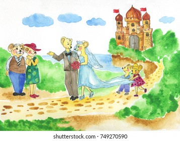 Hand drawn watercolor fairy tale wedding. Mice family.